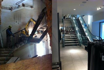 interno del negozio durante e dopo i lavori di demolizione