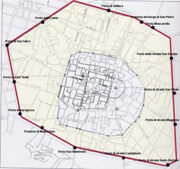 Mappa delle mura di Bologna